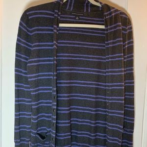Banana Republic Gray & Purple striped cartigan
